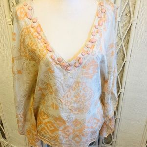 FOREVER 21 Coral Pink Ivory Beaded Floaty Top Med